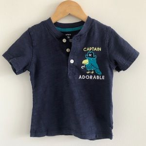 Carter's Captain Adorable Pirate Parrot Henley Tee